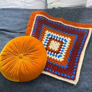 Vintage 1970's Afghan and Mustard Cushion